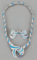 Silver Smalls:Other , A MARGOT DE TAXCO MEXICAN SILVER AND ENAMEL JEWELRY SET . MargotVan Voorhies Carr, Taxco, Mexico, circa 1955-78. Marks: M...(Total: 4 Items)