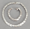 Silver Smalls:Other , A HÉCTOR AGUILAR MEXICAN SILVER NECKLACE AND BRACELET . HéctorAguilar, Taxco, Mexico, circa 1948-62. Marks: H, 940, MEXIC...(Total: 2 Items)