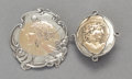 Silver Smalls, TWO GEORGE W. SHIEBLER SILVER AND 14K GOLD PORTRAIT MEDALLIONBROOCHES. George W. Shiebler & Co., New York, New York, circa... (Total: 2 Items)
