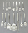 Silver Flatware, American:Dominick & Haff, A NINETY PIECE ELIEL SAARINEN DESIGNED CONTEMPORA PATTERNSILVER FLATWARE SERVICE FOR DOMINICK & HAFF . Dominick...(Total: 90 Items)