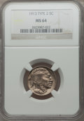 Buffalo Nickels: , 1913 5C Type Two MS64 NGC. NGC Census: (718/405). PCGS Population(1068/771). Mintage: 29,858,700. Numismedia Wsl. Price fo...
