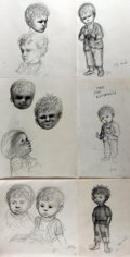 Books:Original Art, Garth Williams (1912-1996), illustrator. Group of Six Preliminary Pencil Illustrations for Shirley Trammell's Upside Ove...