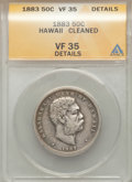 Coins of Hawaii: , 1883 50C Hawaii Half Dollar -- Cleaned -- ANACS. VF35 Details. NGCCensus: (31/422). PCGS Population (38/610). Mintage: 700...