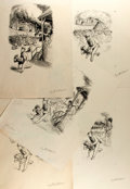 Books:Original Art, Garth Williams (1912-1996), illustrator. SIGNED. Group of Five Preliminary Ink Studies for Robert Fontaine's The Happy T...