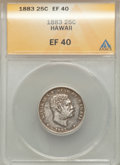 Coins of Hawaii: , 1883 25C Hawaii Quarter XF40 ANACS. NGC Census: (22/1145). PCGSPopulation (51/1640). Mintage: 500,000. ...