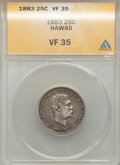 Coins of Hawaii: , 1883 25C Hawaii Quarter VF35 ANACS. NGC Census: (11/1167). PCGSPopulation (24/1691). Mintage: 500,000. ...