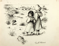 Garth Williams (1912-1996), illustrator. SIGNED. Preliminary Ink Study for Laura Ingalls Wilder's Little House