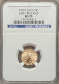 Modern Bullion Coins, 2010 $5 Tenth-Ounce Gold Eagle, Early Releases MS70 NGC. NGC Census: (0). PCGS Population (10642)....