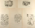 Books:Original Art, Garth Williams (1912-1996), illustrator. SIGNED. Group of Five Preliminary Ink Illustrations for Evelyn Eaton's Every Mo...