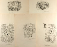 Garth Williams (1912-1996), illustrator. SIGNED. Group of Five Preliminary Ink Illustrations for Evelyn Eaton's
