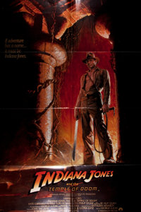 [Movie Posters]. Indiana Jones and the Temple of Doom (Paramount, 1984). Style A. Starring Harrison Ford, Kate Capsha