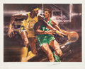 Basketball Collectibles:Others, Wilt Chamberlain and John Havlicek Signed Lithograph. ...