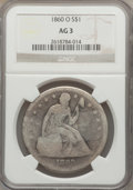 Seated Dollars: , 1860-O $1 AG3 NGC. NGC Census: (0/828). PCGS Population (2/1277).Mintage: 515,000. Numismedia Wsl. Price for problem free ...