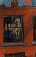 Fine Art - Painting, American:Modern  (1900 1949)  , PHILIP EVERGOOD (American, 1901-1973). Village Days. Oil onMasonite. 17 x 11 inches (43.2 x 27.9 cm). Signed lower righ...