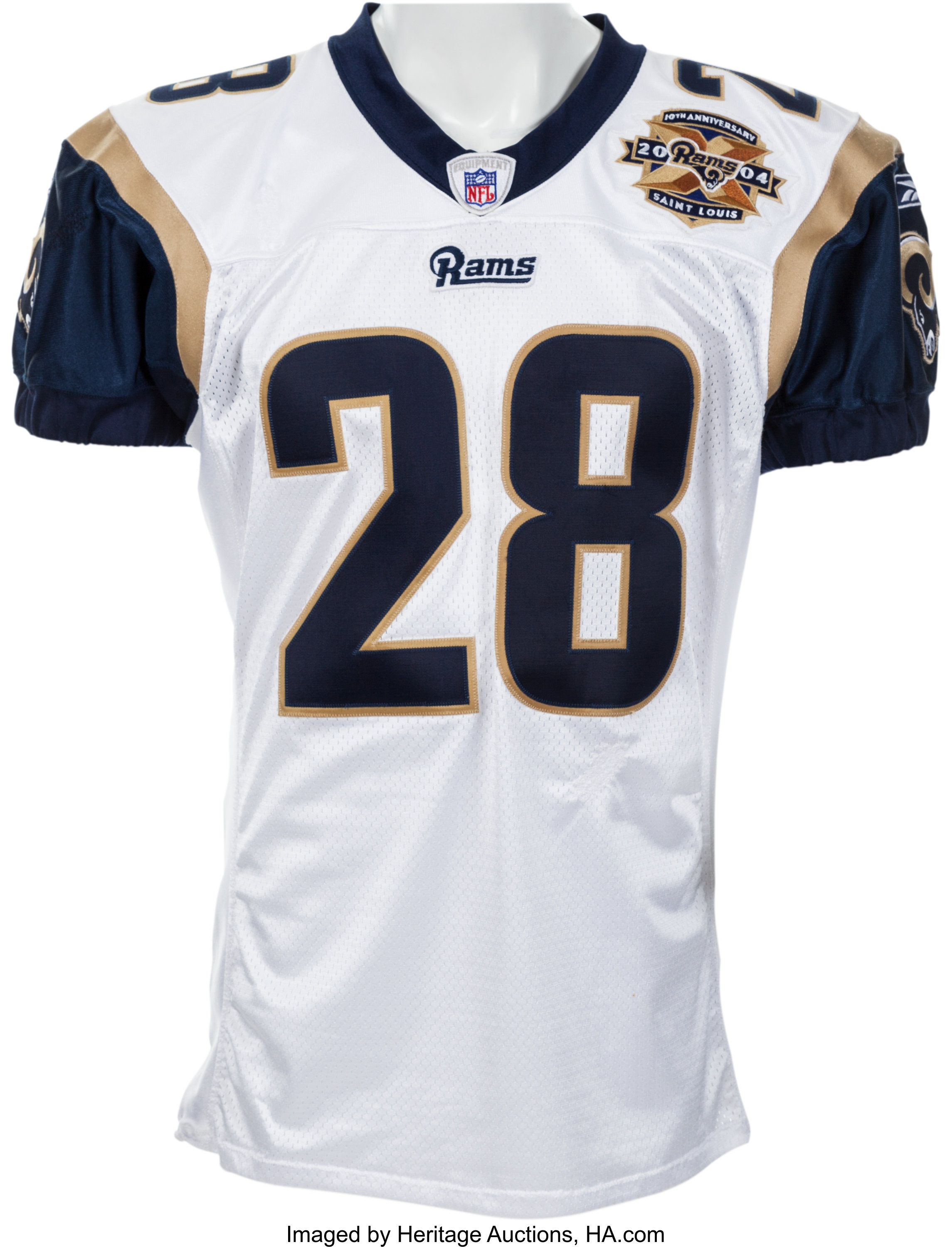 new concept 523fd 32616 2004 Marshall Faulk Game Worn St. Louis Rams Jersey - Four ...