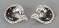 Silver Smalls:Other , A PAIR OF WILLIAM SPRATLING SUCCESSORS MEXICAN SILVER AND WOODEARRINGS. William Spratling, Taxco, Mexico, post 1980. Marks:...(Total: 2 Items)