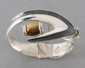 Silver Smalls:Other , A SIGI PINEDA MEXICAN SILVER AND TIGER EYE CUFF . Sigfrido Pineda,Taxco, Mexico, circa 1950. Marks: Sigi, TASCO, STERLING...