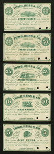 Obsoletes By State:Ohio, Tiffin, OH- Souder & Carpenter at Tomb, Huss & Co. 5¢, 10¢,25¢, and 50¢ (2) Dec. 1, 1862 Wolka 2535-01, 2535-02, 2535-03, a...(Total: 5 notes)