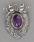 Silver Smalls:Other , A MARGOT DE TAXCO MEXICAN SILVER AND AMETHYST BROOCH. Margot VanVoorhies Carr, Taxco, Mexico, circa 1955. Marks: MARGOT O...