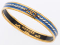 Luxury Accessories:Accessories, Hermes 65mm Blue & White Printed Enamel Bangle Bracelet withGold Hardware . ...