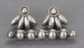 Silver Smalls:Other , A PAIR OF WILLIAM SPRATLING MEXICAN SILVER EARRINGS AND BROOCH .William Spratling, Taxco, Mexico, circa 1950. Marks: SPRA...(Total: 3 Items)
