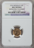 Commemorative Gold, 1916 G$1 McKinley -- Improperly Cleaned -- NGC Details. Unc. NGCCensus: (16/2364). PCGS Population (35/4263). Mintage: 9,9...
