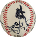 Baseball Collectibles:Balls, 1985 Darryl Strawberry Original Baseball Artwork by LeRoyNeiman....