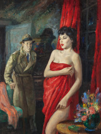 JULIAN PAUL (American, b. 1921) Naked in the Dark, paperback cover, 1953 Oil on board 24 x 17.5 i