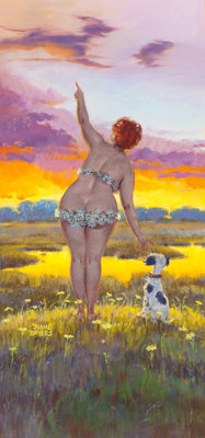 DUANE BRYERS (American, 1911-2012) Hilda with Dog at Sunset, calendar illustration Gouache on board<