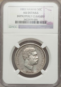 Coins of Hawaii: , 1883 50C Hawaii Half Dollar -- Improperly Cleaned -- NGC Details.AU. NGC Census: (29/301). PCGS Population (57/379). Minta...