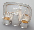 Silver Holloware, American:Trays, A FOUR PIECE F. WALTER LAWRENCE SILVER TEA SERVICE. Frank WalterLawrence, New York, New York, circa 1910. Marks: F. WALTE...(Total: 4 Items)