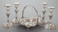 Silver & Vertu:Hollowware, A FRANK SMITH SILVER RETICULATED BASKET AND FOUR CANDLESTICKS . Frank W. Smith Silver Co., Inc., Gardner, Massachusetts, cir... (Total: 5 )