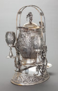 Silver Holloware, American:Hot Water Kettles , A MERIDEN BRITTANIA CO. SILVER-PLATED TILTING COVERED PITCHER ONSTAND WITH TWO CUPS. Meriden Britannia Company, Meriden, Co...(Total: 4 Items)