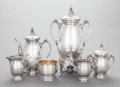 Silver Holloware, American:Coffee Pots, A SIX PIECE REED & BARTON SILVER-PLATED COFFEE SERVICE. Reed& Barton, Taunton, Massachusetts, circa 1880. Marks to coffeep... (Total: 6 Items)