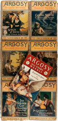 Books:Science Fiction & Fantasy, [Pulps]. Seven Issues of The Argosy. Frank A. Munsey, [1919-1928]. Original printed wrappers. Toned and edgeworn, es... (Total: 7 Items)