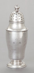 Silver Holloware, American:Other , A JAMES WOOLLEY SILVER CASTER . James T. Woolley, Boston,Massachusetts, circa 1900. Marks: WOOLLEY, STERLING. 7inches ...
