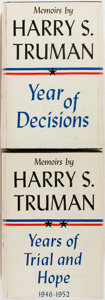 Books:Biography & Memoir, Harry S. Truman. SIGNED. Memoirs: Volumes I and II. Garden City: Doubleday, 1955 and 1956. Volume I Signed. Octavos.... (Total: 2 Items)