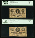 Confederate Notes:1863 Issues, T63 50 Cents 1863 PF-2 Cr. UNL.. T72 50 Cents 1864 PF-1 Cr. 578..... (Total: 2 notes)