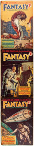 Books:Science Fiction & Fantasy, [British Pulps]. Three Issues of Fantasy Thrilling Science Fiction. George Newnes, [1938-1939]. Original printed wra... (Total: 3 Items)