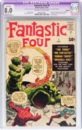 Silver Age (1956-1969):Superhero, Fantastic Four #1 (Marvel, 1961) CGC Apparent VF 8.0 Moderate (P)Off-white to white pages....