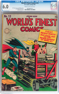 World's Finest Comics #13 (DC, 1944) CGC FN 6.0 Cream to off-white pages