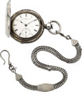 Timepieces:Pocket (pre 1900) , Illinois 18 Size Early Currier No. 5973 Coin Silver Keywind WithChain, circa 1872. ...