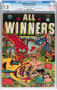 All Winners Comics #5 (Timely, 1942) CGC VF- 7.5 Cream to off-white pages