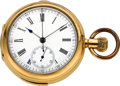 Timepieces:Pocket (pre 1900) , Swiss Gold Quarter Hour Repeater With Chronograph. ...