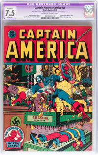 Captain America Comics #28 (Timely, 1943) CGC Apparent VF- 7.5 Slight (A) Off-white to white pages