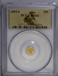 California Fractional Gold: , 1855/4 25C Liberty Octagonal 25 Cents, BG-106, R.3, MS64 PCGS. PCGSPopulation (34/8). (#10375)...
