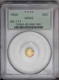 California Fractional Gold: , 1856 25C Liberty Octagonal 25 Cents, BG-111, R.3, MS62 PCGS. PCGSPopulation (75/113). (#10380)...