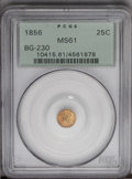 California Fractional Gold: , 1856 25C Liberty Round 25 Cents, BG-230, Low R.4, MS61 PCGS. PCGSPopulation (9/86). (#10415)...