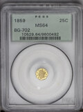 California Fractional Gold: , 1859 25C Liberty Octagonal 25 Cents, BG-702, R.3, MS64 PCGS. PCGSPopulation (70/16). (#10529)...