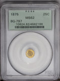 California Fractional Gold: , 1875 25C Indian Octagonal 25 Cents, BG-797, Low R.4, MS62 PCGS.PCGS Population (18/81). (#10624)...